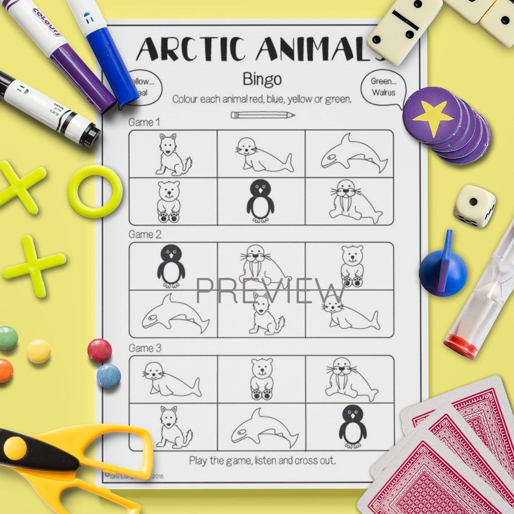 Arctic Animals Bingo Game With Images