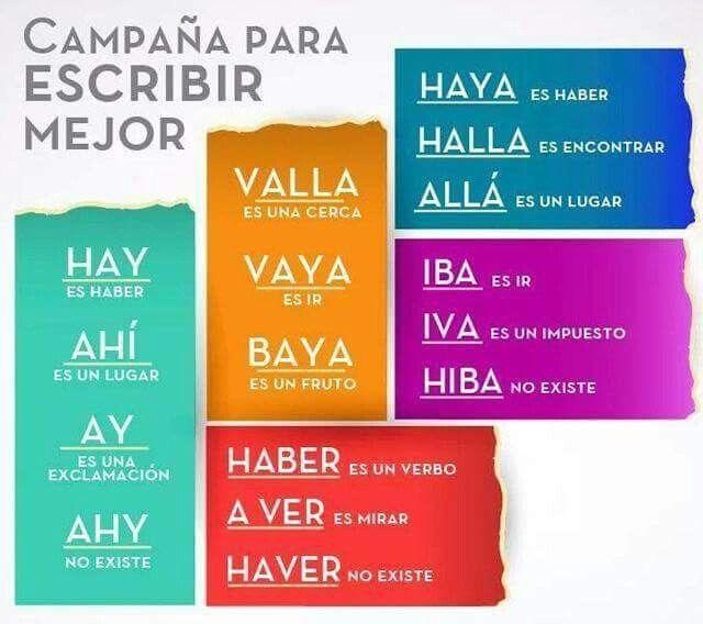 Campaña para escribir mejor | ERRORES COMUNES EN ESPAÑOL | Pinterest ...
