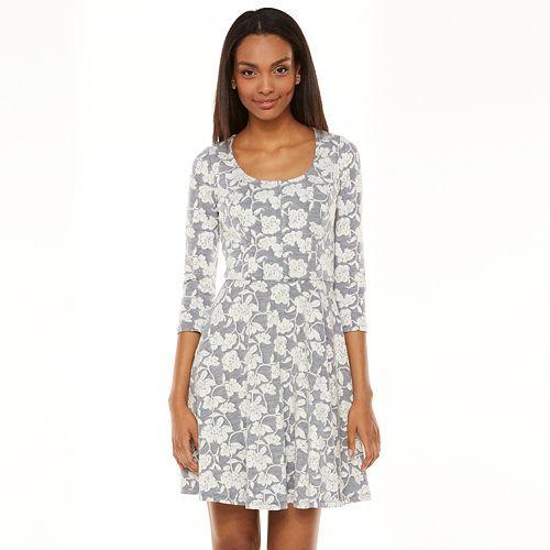 LC Lauren Conrad floral Jacquard Fit & Resplandor del vestido - Mujeres
