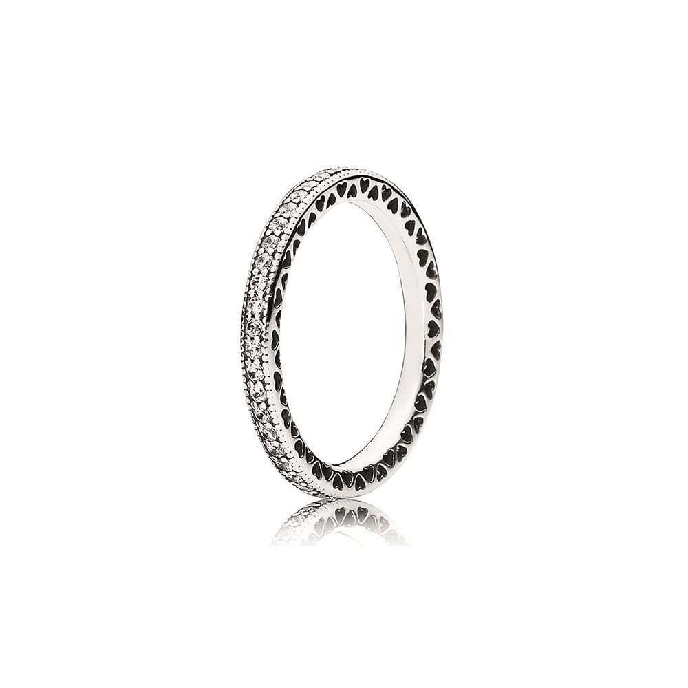 9ad7d0a5e Authentic Sterling Silver 925 Hearts Of Pandora Ring 190963Cz Size 7 / 54