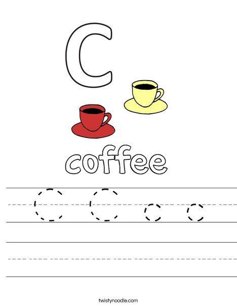C C C C Worksheet  Twisty Noodle  Letter Coloring Pages