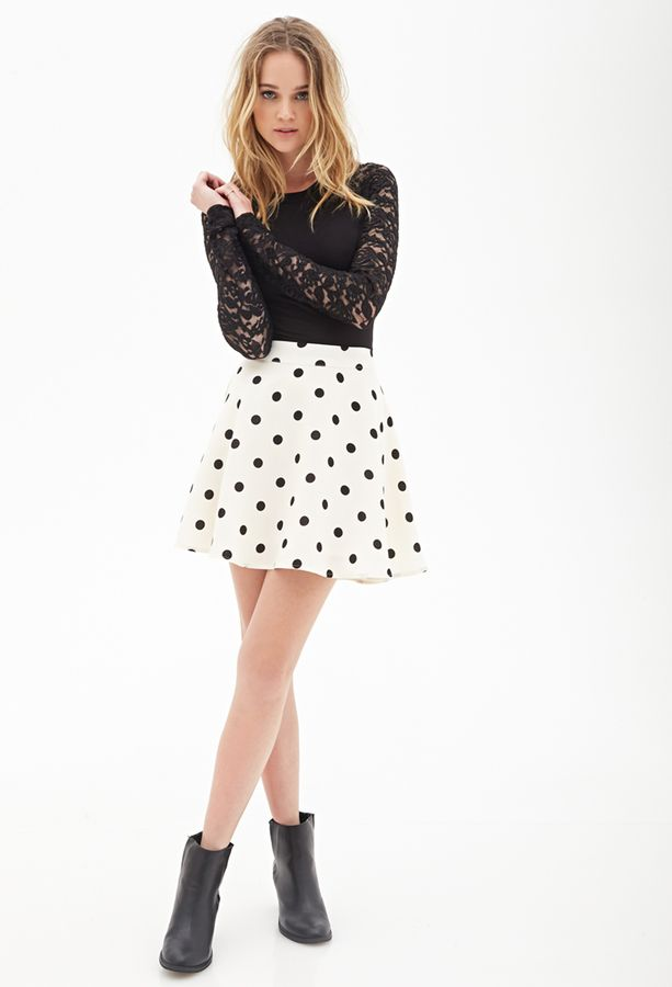 $17, White and Black Polka Dot Skater Skirt: Forever 21 Polka Dot Skater Skirt. Sold by Forever 21. Click for more info: https://lookastic.com/women/shop_items/116604/redirect