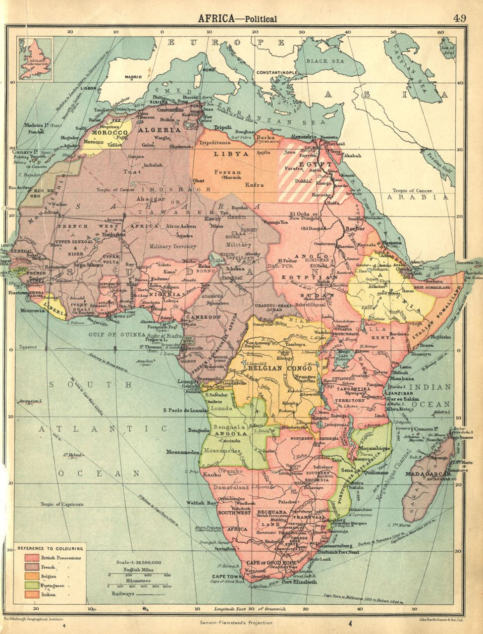 Vintage Map 1922 by Bartholomew AFRICA Political