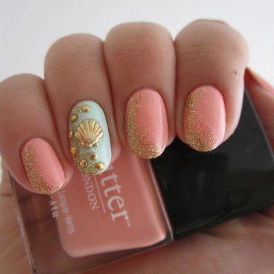 beach beauty: hair nails, makeup Nails for summer: beach nails #DIY #Design #Nails by GodMick