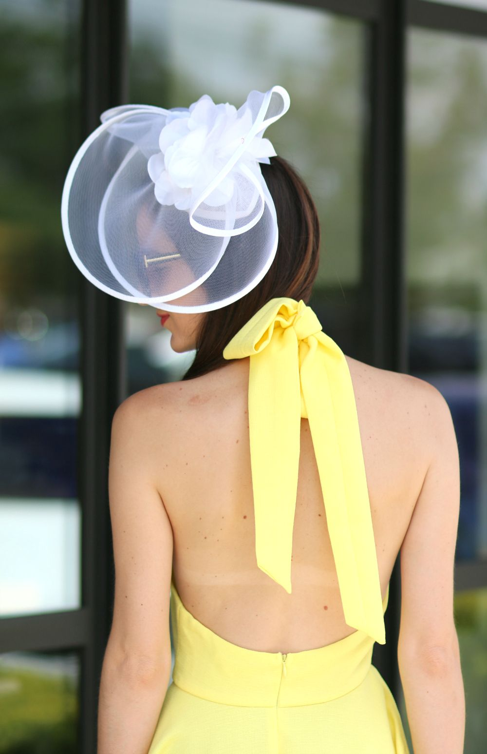9847b19b9c590 Yellow Derby Dress and White Fascinator Hat | Diary of a Debutante ...