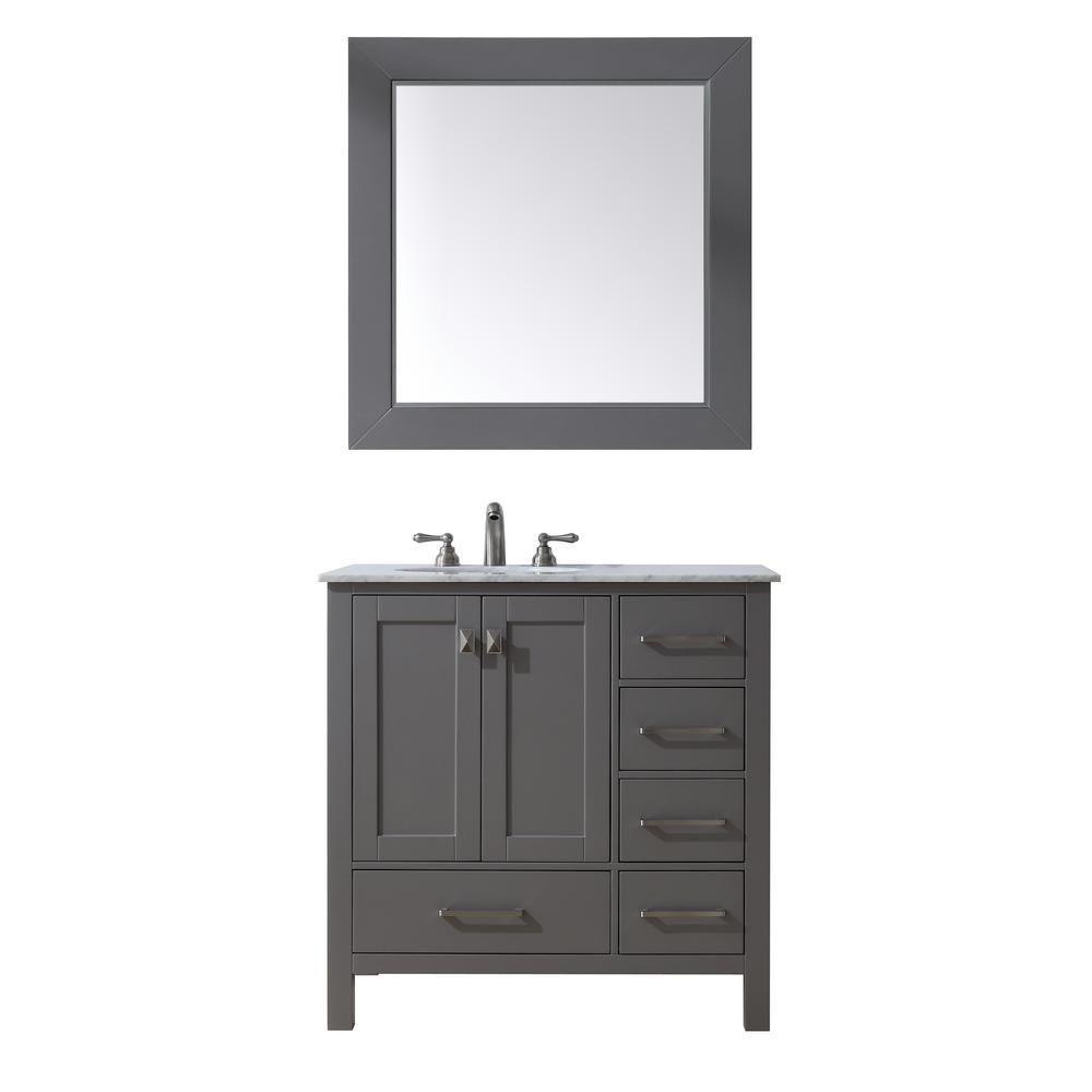 stufurhome Malibu 36 in. W x 22 in. D Vanity in Grey with Marble ...