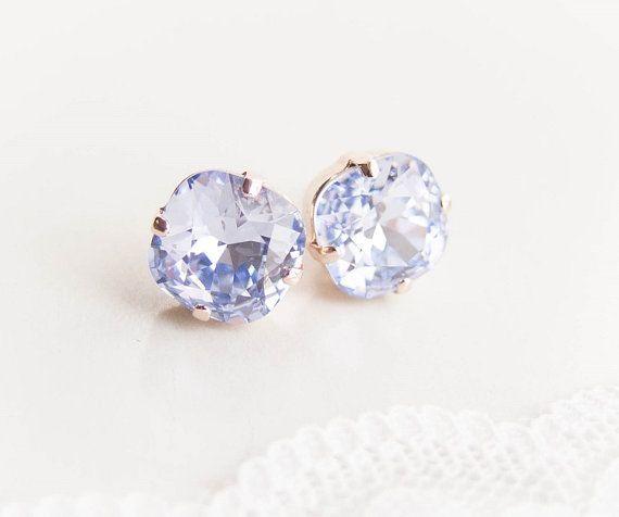 Rose Gold Provence Lavender Crystal Earrings Swarovski
