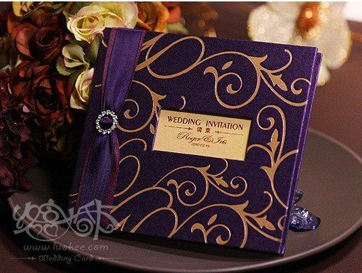 Wedding Card Invitation 20011 Purple Color With Gold Embossed Printing