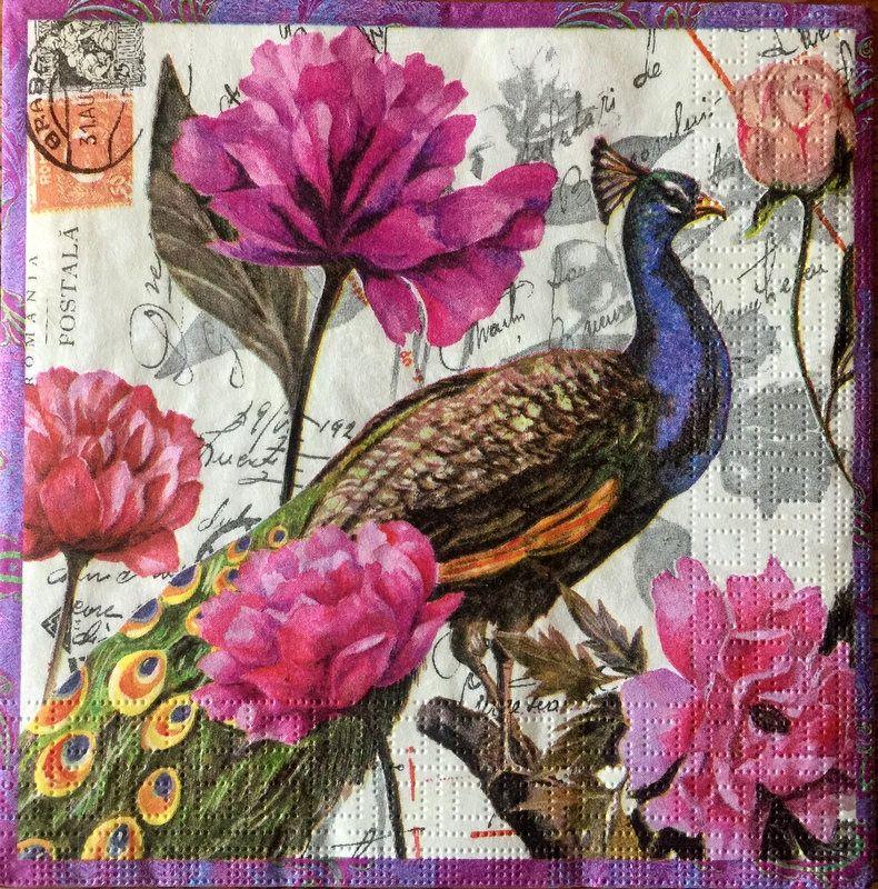 paper napkins decoupage x 2 birds /& flowers 33cm