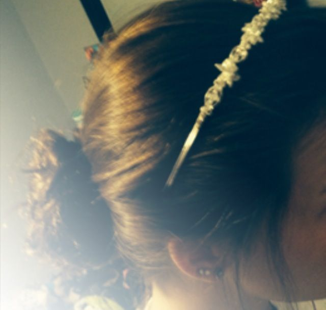 Messy bun with jeweled headband  Cute for everyday, or formal wearing!