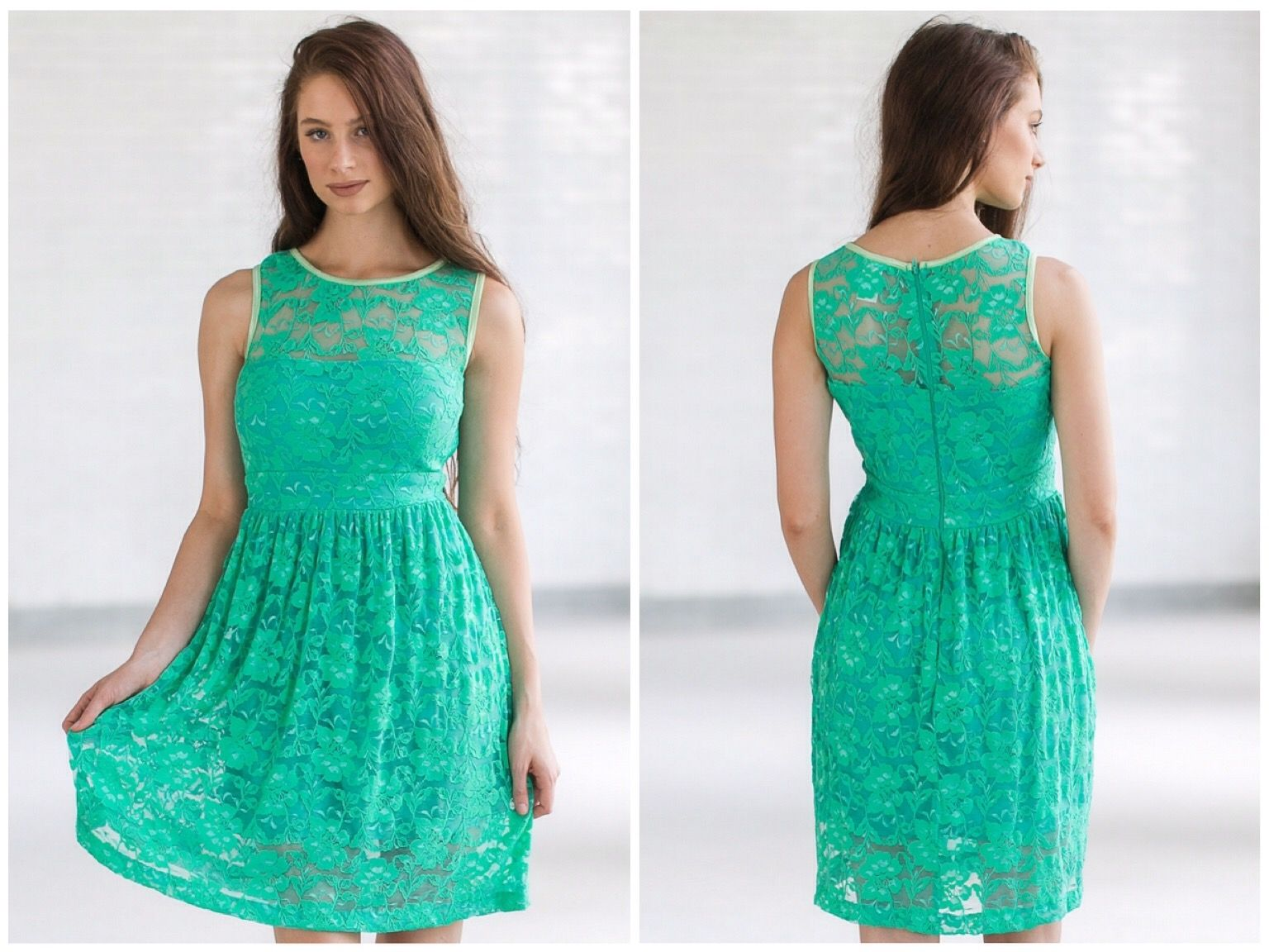 This bright green lace dress looks cute with wedges or heels: http ...