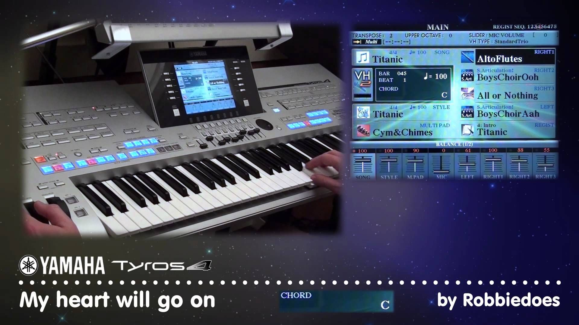 Tyros 4: My heart will go on - Celine Dion | music on key board