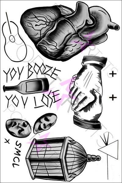 Harry Styles Heart Temporary Tattoo Sheet Of Temporary border=