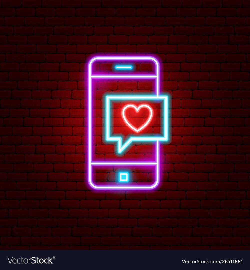 Love phone message neon sign vector image on Placas de