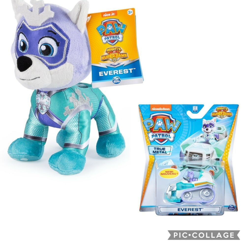 Paw Patrol Mighty Pups Super Paws Metal Racer Everest Plush Everest New Spinmaster Paw Patrol Paw Patrol Toys Everest Paw Patrol