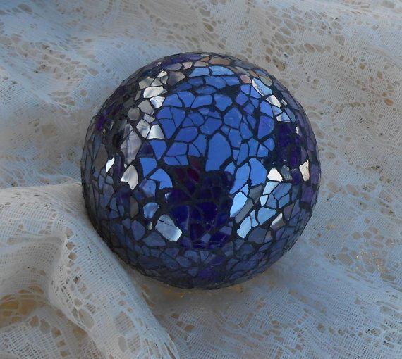 3 Mosaic Balls Crackle Glass Mirror Mirrored Carpet Ball Decoration Bowls Flowers Purple Set 6 New Crackle Glass Glass Mirror Ball Decorations