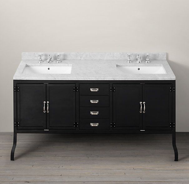 Restoration Hardware Pharmacy Double Vanity Sink Black