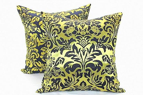 Gold And Black Damask Throw Cushion Covers Floral Pillow