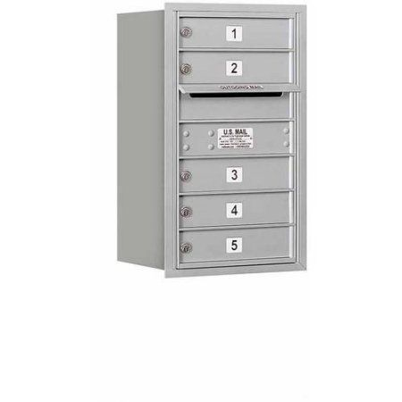 Salsbury Industries 4C Horizontal Mailbox 7-Door High Unit (27 inch), Single Column, 5 MB1 Doors, Aluminum, Rear Load, Private Access, Silver