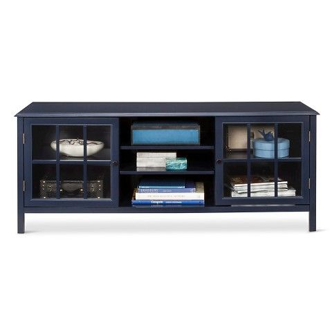 60 windham large tv stand navy threshold home sweet home large tv stands blue tv stand. Black Bedroom Furniture Sets. Home Design Ideas