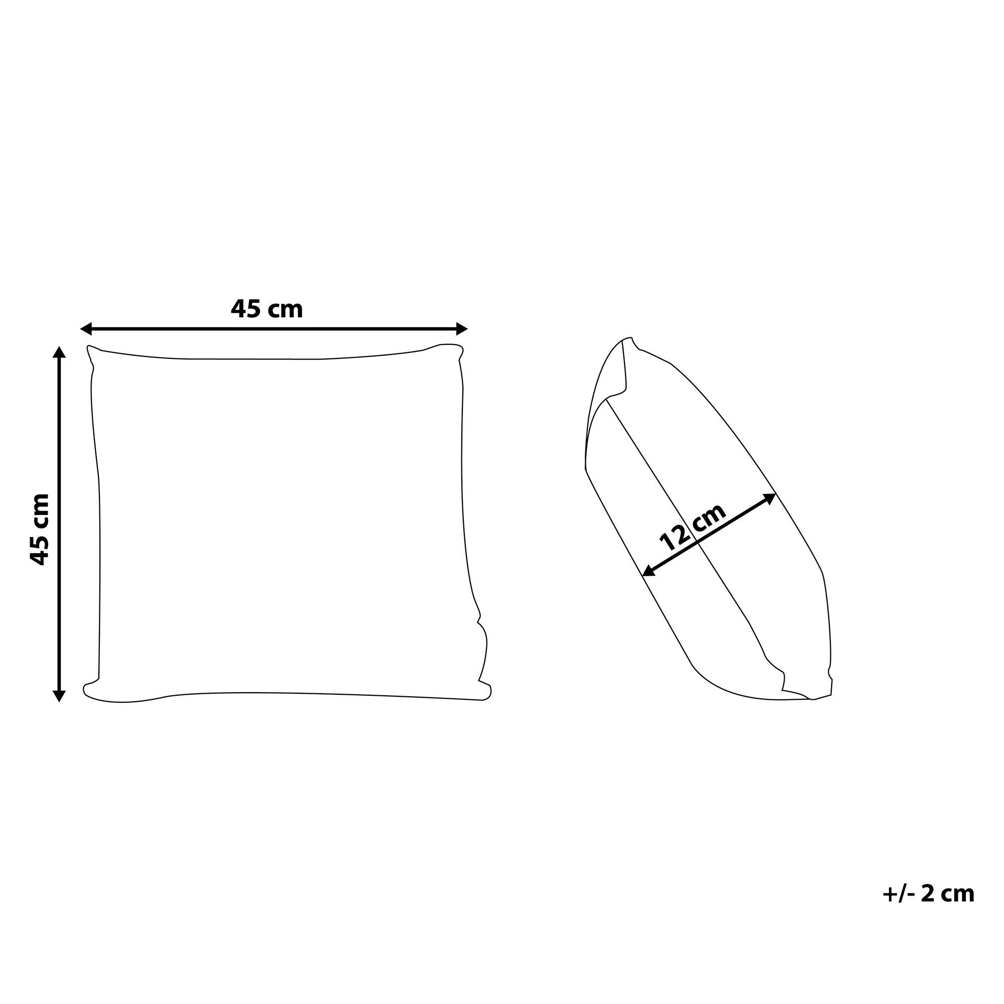 10€ Gutschein auf alles - Code PinDE2020 / Dekokissen Grau Polsterbezug 45 x 45 cm Cord-Optik Wohnzimmer Salon Schlafzimmer Beliani