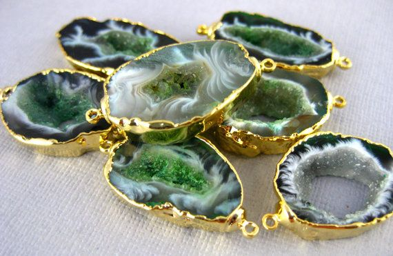 Agate Druzy Druzzy Drusy Slice Connector Pendant Double Bail Electroplated in 24k Gold-- Green Dyed Agate Slice Connector
