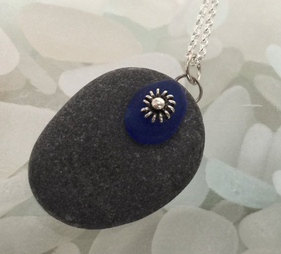 one of a kind maine sea stone with cobalt by DeniseDionDesigns