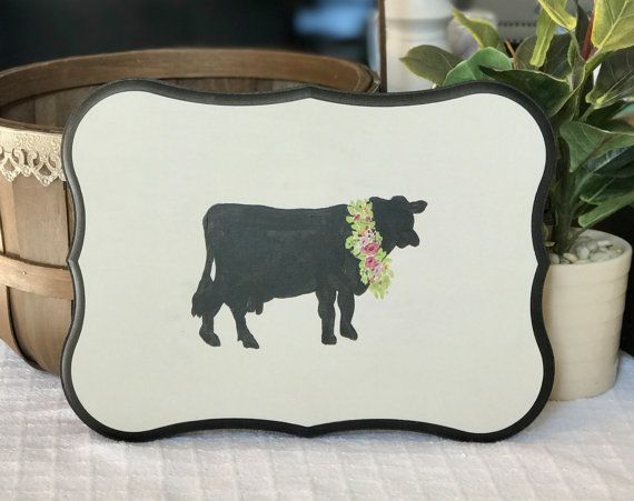 Cow Sillhouette and Floral Wreath by ThatsWhatIWantDecor on Etsy