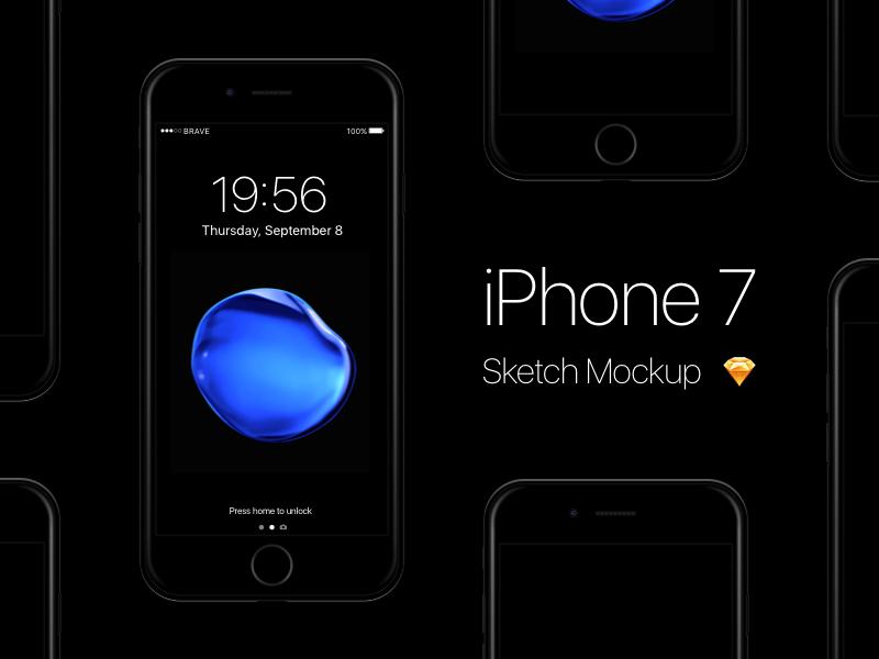 Download Free Iphone 7 Jet Black Sketch Mockup Iphone 7 Jet Black Free Iphone Iphone 7