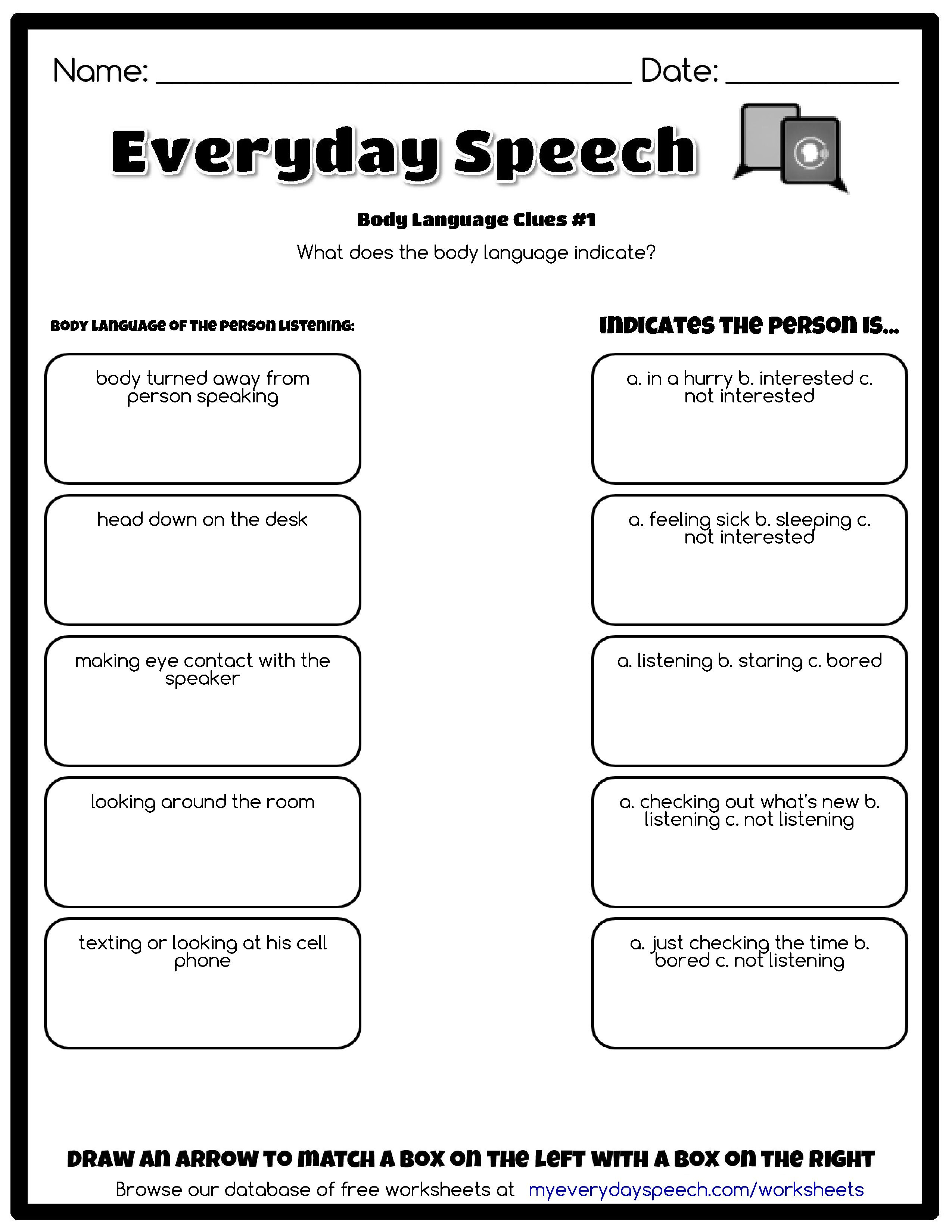 Made Using Everyday Speech S Worksheet Creator Body