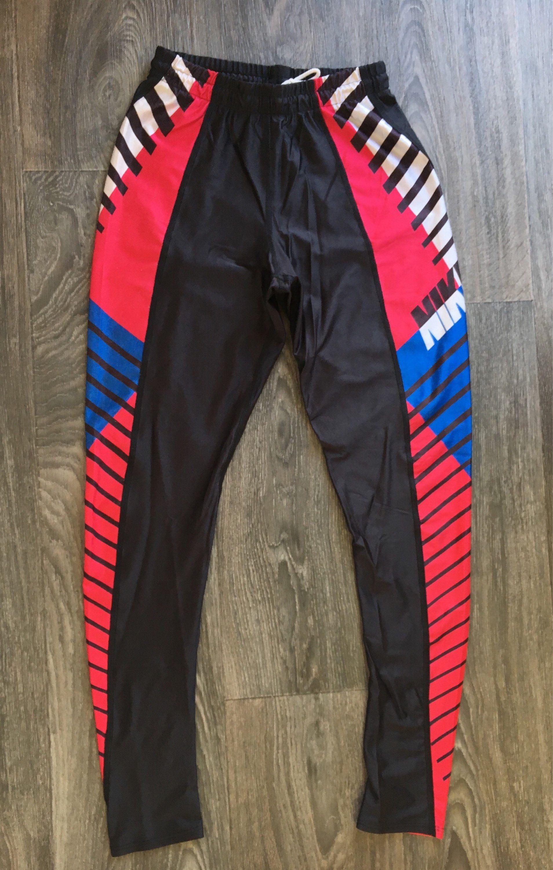908df0c3c3ad Nike Spandex Pants VTG 80s 90s Nylon Workout Bike Cycling Runner Red White  Blue Black Leggings USA Made Medium by sweetVTGtshirt on Etsy
