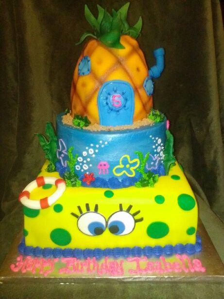 Brilliant Spongebob Birthday Cake With Images Spongebob Birthday Birthday Cards Printable Inklcafe Filternl