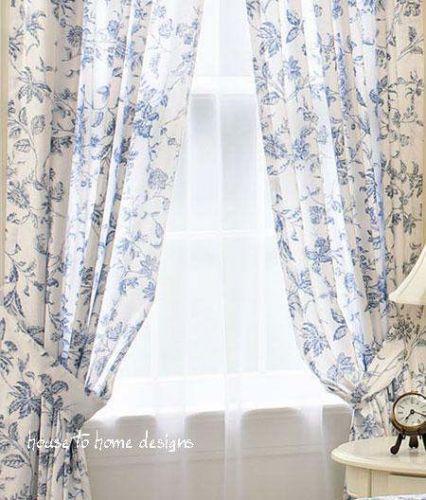 Brighton Blue White Toile Window Curtain French Panel