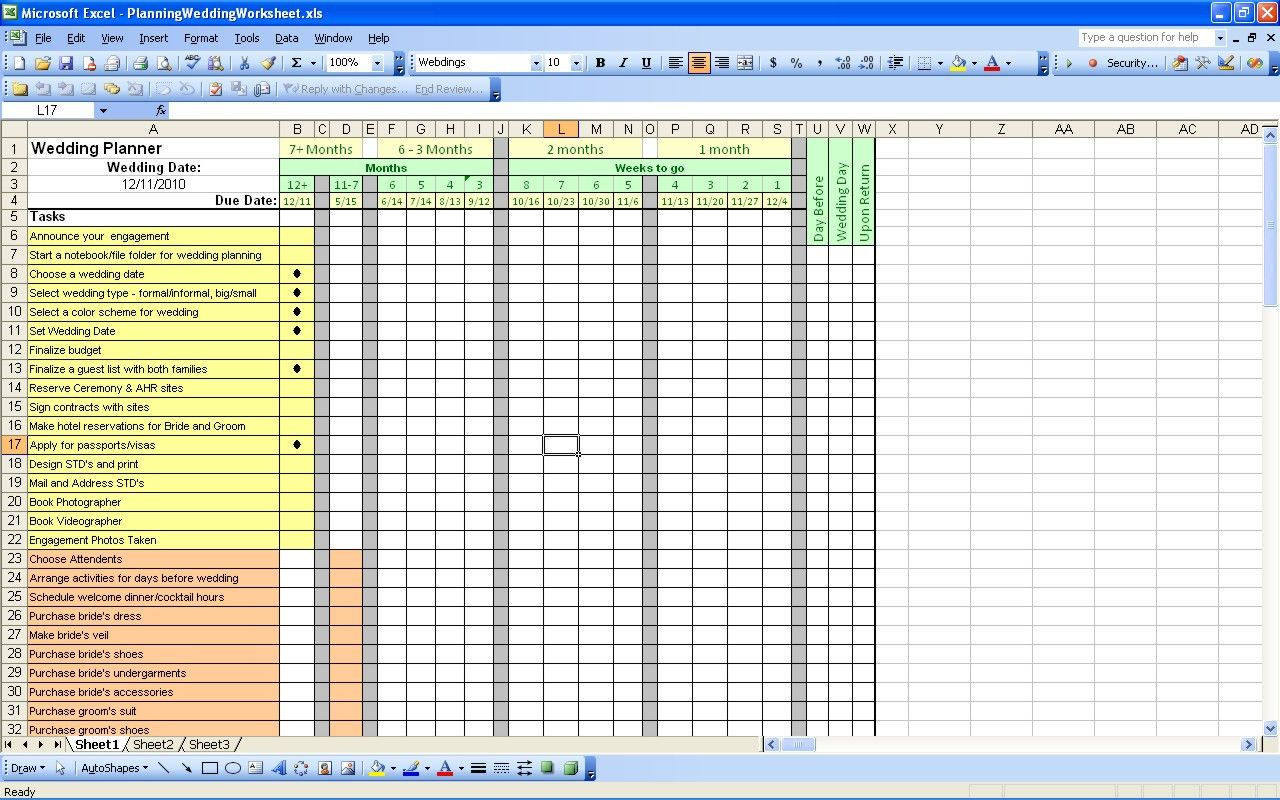 Planning Wedding Worksheets Oh Yes I Do So Love My Spreadsheets