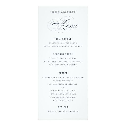 Navy Blue Elegant Wedding Formal Dinner Menu WEDDING MENU CARDS - formal dinner menu template