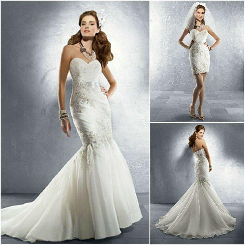 Imagina un vestido de novia indicado para ser el vestido de tus sueños y cumplir con el protocolo en la ceremonia. Y ahora imagínate disfrutando en la fiesta, saltando y bailando, pero con un vestido cómodo, corto y muy sexy, como si se tratase de un segundo vestido para tu boda.