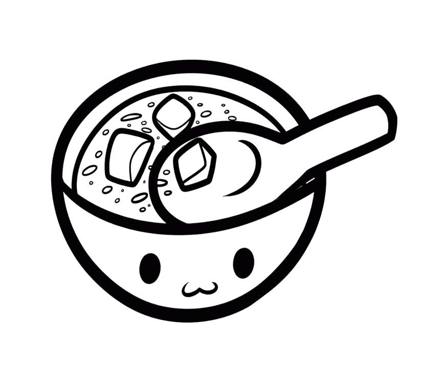 Miso Soup Coloring Page For Kids