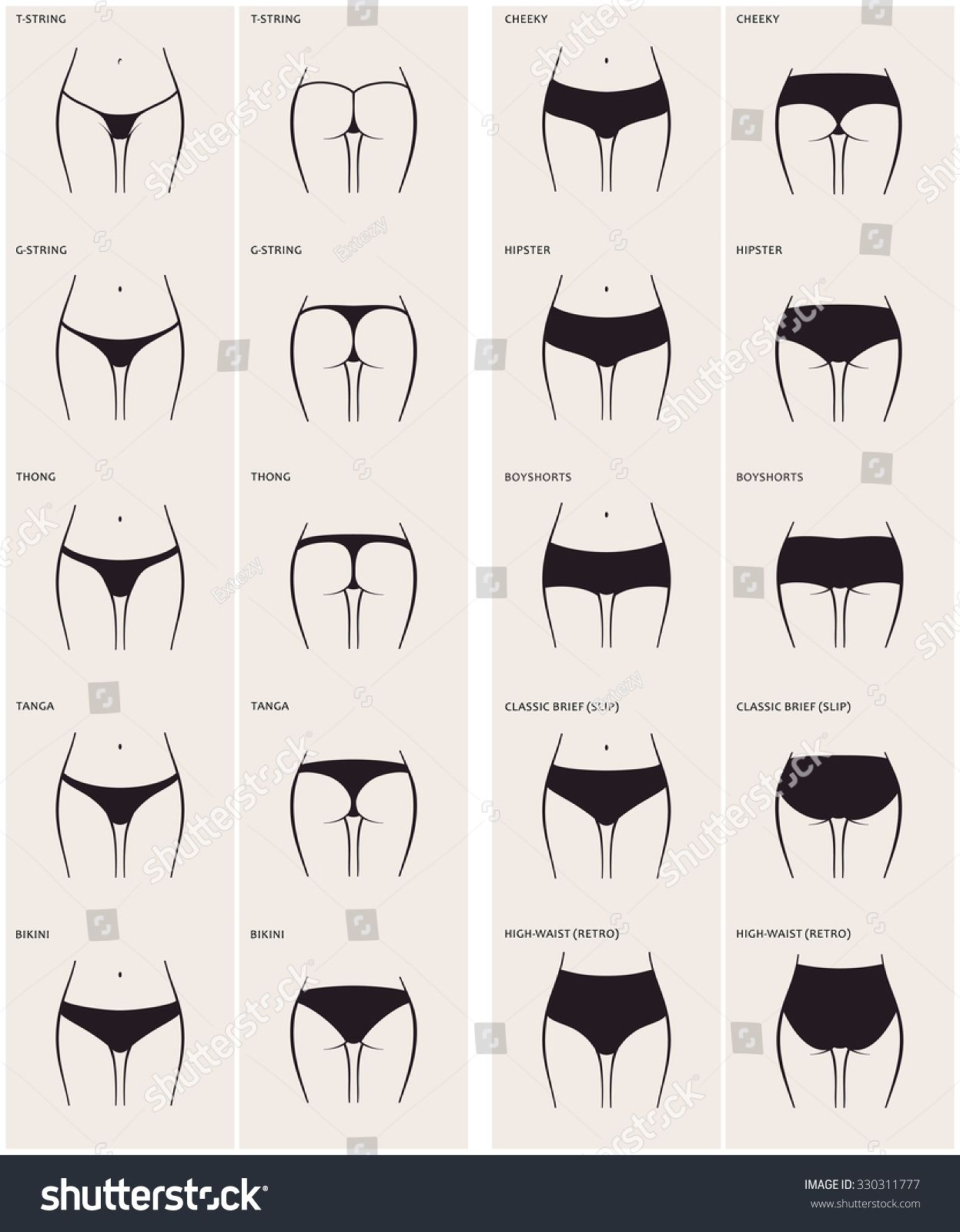789fb8c55c7 10 types of women s panties. Raster set of underwear. Silhouette ass in  front and behind. string