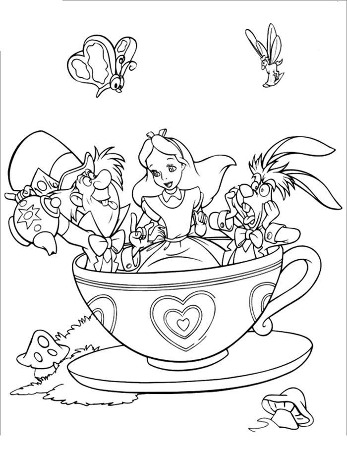 March Hare And Mad Hatter And Alice In Wonderland Coloring Pages For Kids Bec Printable Alice In Wonderla Disney Coloring Pages Disney Colors Coloring Pages