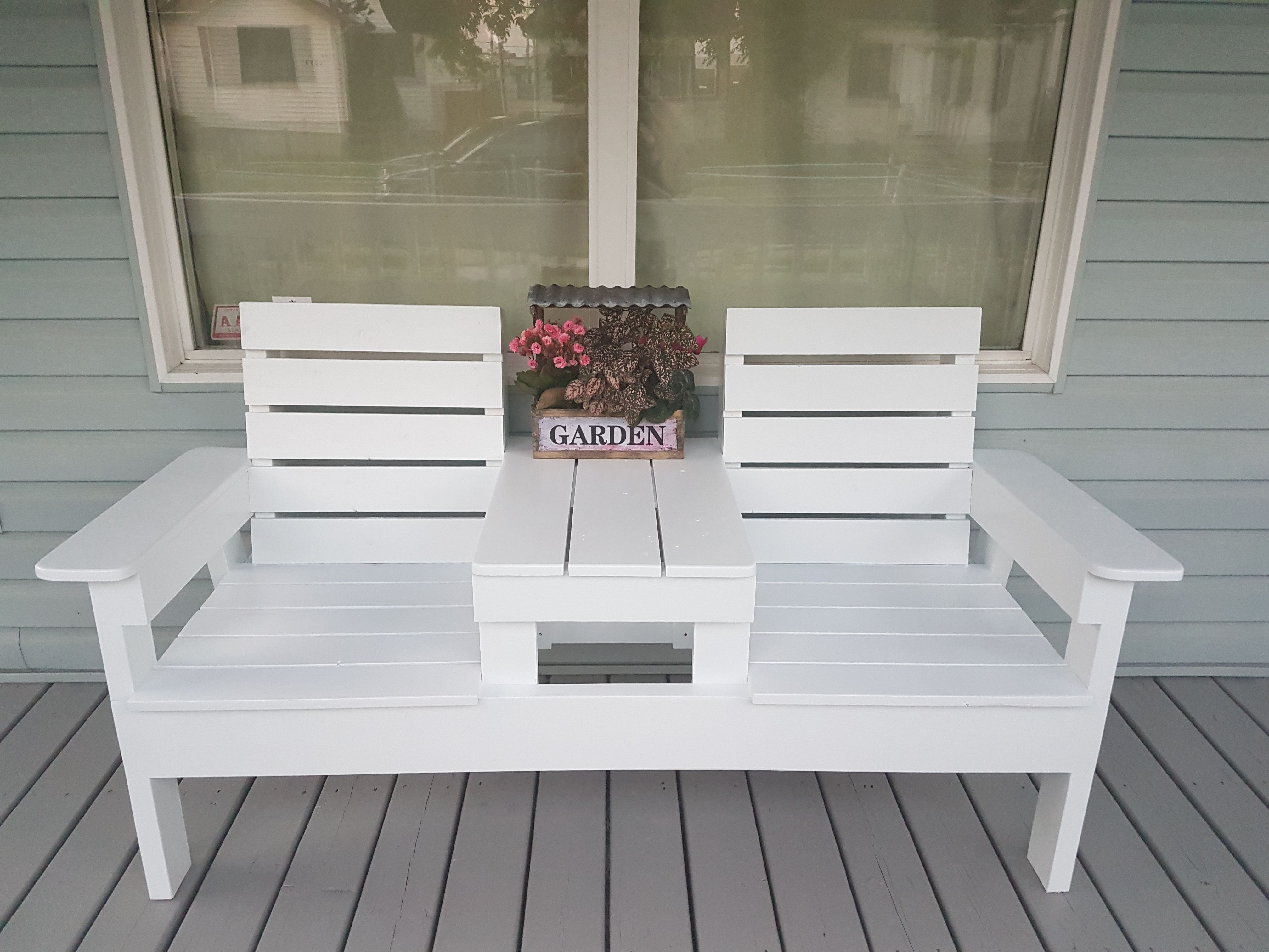 Diy Double Chair Bench With Table Diy Projects Diypete With Images Diy Bench Outdoor Best Outdoor Furniture Top Outdoor Furniture
