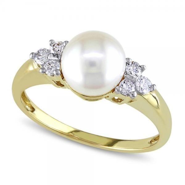 "8/"" Freshwater Cultured Pearl Bypass Bangle avec diamants en argent sterling"