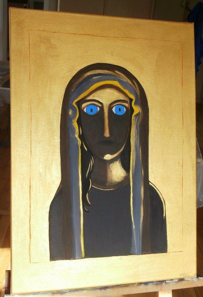 """""""La vierge aux yeux bleus"""" - série """"Ors"""" ma dernière toile sortie de l'atelier aujourd'hui!! Rencontre entre un style traditionnel et un style pop.  Le descriptif et l'histoire de cette toile sont disponibles sur mon blog: http://astridgollety-art.blogspot.com"""
