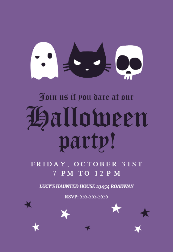 Haunted House Party Halloween Party Invitation Template Free Greetings Island Printable Halloween Invitations Haunted House Party Halloween House Party