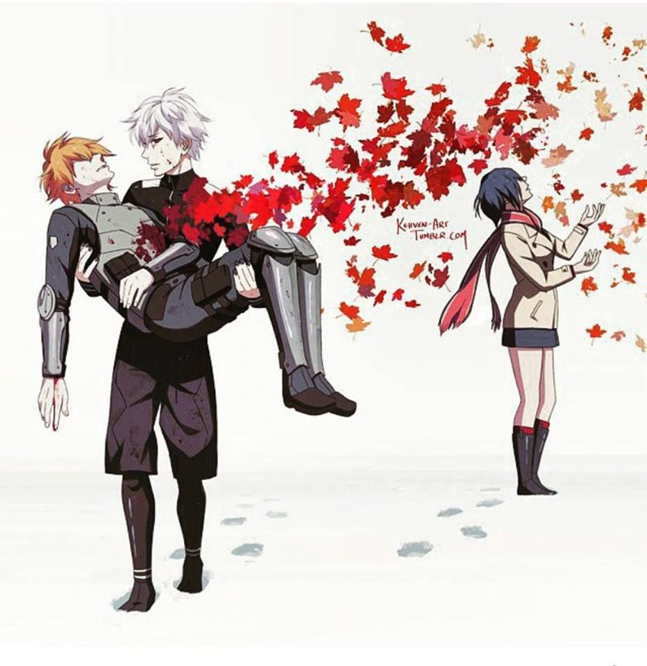 """""""All the best people are falling like the leaves falling in autumn."""" - Touka x Hide x Kaneki - Tokyo Ghoul................P.S. Sorry"""