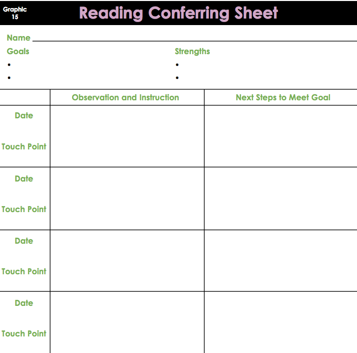 Reading Conferring Sheet For PensieveConferring Notebook  The