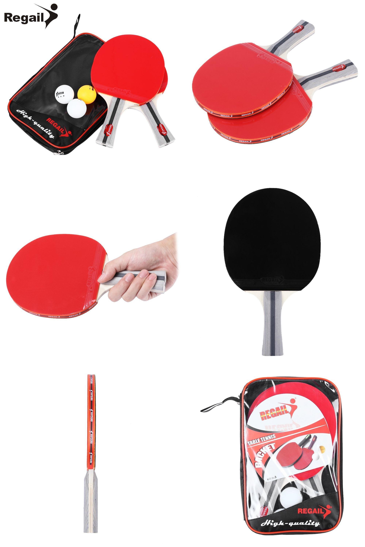 Visit To Buy Regail 8020 Table Tennis Ping Pong Racket Two Shake Hand Grip Bat Paddle Three Balls Light Tip Heavy H Table Tennis Racket Ball Lights Hand Grip