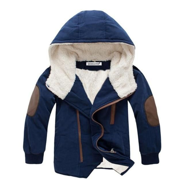 b425bd44e Boys Fleece Lined Coat with Elbow Patches Stylish Winter Jacket ...