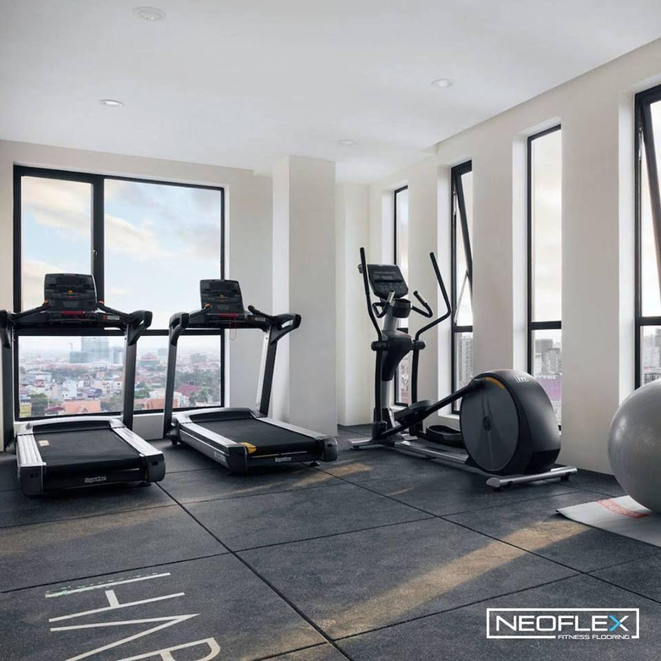 Neoflex Premium Gym Tiles At Habitat Condominium In Phnom Penh Cambodia Gym Flooring Rubber Gym Flooring Floor Finishes