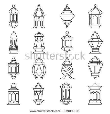 Ramadan Lantern Set Islamic Lamp Or Light Muslim Traditional Fanoos Line Art Vector Flat Style Illustration I Fonarnye Stolby Ukrasheniya Dlya Ramadana Ramadan