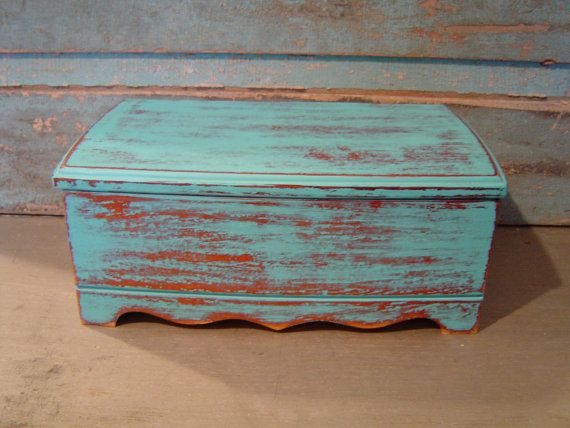 Jewelry Box Turquoise Distressed Wood Distress wood Turquoise and